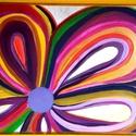 Nyíló virág, Képzőművészet, Festmény, Akril, Napi festmény, kép, Feszített vászonra akril festékkel készült egyedi kép. 30x40 cm, Meska