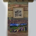 dekor fal, Dekoráció, Képzőművészet, Kép, Illusztráció, régi deszkából, egyedi szinezés, antikolással készült dekorfal eladó. A képen látható 105..., Meska