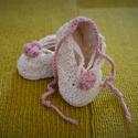 Horgolt ballerina babacipő, Baba-mama-gyerek, Ruha, divat, cipő, Baba-mama kellék, Cipő, papucs, Horgolás,  Gyönyörűszép horgolt ballerina babacipő kis rózsával az orrán. Kreatív ajándék babalátogatóba vagy..., Meska