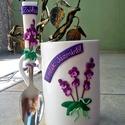 orchidea gyurmás szett , Otthon, lakberendezés, Konyhafelszerelés, Dekoráció, Bögre, csésze, Gyurma, süthető gyurmából készült bögre + kanál szett, orchideával  Bögre színe tetszés szerint változtatha..., Meska