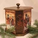 Karácsonyi dobozka, Nagy méretű 8 szög alakú fából készült dob...