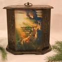 Ajándék dobozka, Fa alapanyagból készült nyolcszögletű doboz, ...