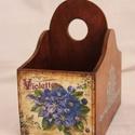 Fa kis kosár, Fából készült, virágokkal díszített,  két ...