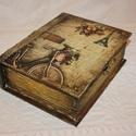 Könyv alakú doboz, Dekoráció, Otthon, lakberendezés, Dísz, Tárolóeszköz, Fából készült, régies hatású, tároló, könyv formájú doboz. Mérete:  szélessége: 19 cm magassága: 24 ..., Meska