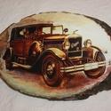 Fali kép, Otthon, lakberendezés, Falikép, Fa szeletre készített régi autót  ábrázoló falra akasztható kép. Mérete: 25 x 17 cm  Kézműves termék..., Meska