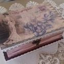Nosztalgia könyv formájú fadobozka, Dekoráció, Otthon, lakberendezés, Mindenmás, Tárolóeszköz, Decoupage, transzfer és szalvétatechnika, Festett tárgyak, Könyv alakú 20*13*7 cm-es fadobozt díszítettem gyönyörű, régi időket idéző rizspapírral decoupage t..., Meska