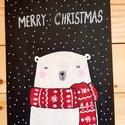 Polar bear christmas!, Dekoráció, Ünnepi dekoráció, Karácsonyi, adventi apróságok, Karácsonyi dekoráció, Decoupage, transzfer és szalvétatechnika, Egy A/4 méretű fára dolgoztam.Lefestettem táblafestékkel majd rádolgoztam a szöveget. Szalag az aka..., Meska