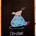 Christmas pudding, Dekoráció, Ünnepi dekoráció, Kép, Karácsonyi, adventi apróságok, Decoupage, transzfer és szalvétatechnika, Virágkötés, Egy A/4 méretű fára dolgoztam.Lefestettem táblafestékkel majd rádolgoztam a szöveget. Szalag az aka..., Meska