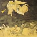 Az Ítélet meghirdetése, Képzőművészet, Grafika, Vegyes technika, A kép tus, papír és ceruza technikával készült. mérete: 36x41 cm (kerettel együtt), Meska