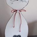 Zibi Cica ajtó dísz, dekor, Dekoráció, Dísz, Famegmunkálás,  4 mm -es rétegelt lemezből készült cic, 38 cm magas. Ajtód vagy abalakod dísze is lehet. Macska má..., Meska