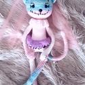Amigurumi zombi macska lány, Gyerek & játék, Játék, Játékfigura, Horgolás, Varrás, Horgolt zombi cica lány.Ombre fonalból készűlt,tűl fàtyol van a fején.40cm hosszú,puha  testű játék..., Meska
