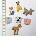 Gombcsomag - Farm, 7 db különböző állatfigurát mintázó füles...