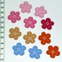 Gombcsomag - Pasztell virágok, 11 db nagy méretű, pasztell, virágot formázó ...