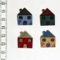 Gombcsomag - Házak, 4 db házat formázó színes dekorgomb. Ajánlom ...