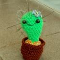 Tűpárna kaktusz, Pamutfonalból horgolt bájos kis kaktusz alakú t...