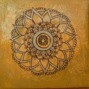 """Mandala kép- """"Hapiness """" - Boldogság, mandala, Dekoráció, Kép, Boldogság- """" Hapiness"""" mandala Narancssárga árnyalatai, púder rózsaszín, arany és ezüst festés az al..., Meska"""