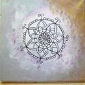 """Mandala kép- """"New life  Healing """"  mandala, Dekoráció, Kép, """" NEW LIFE HEALING"""" nevet kapta ez a mandala. 20x20 cm feszített vászonra , rózsaszín, bíbor, ezüst ..., Meska"""
