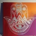 Hamsa kép, Otthon & lakás, Dekoráció, Kép, Ezt a kis festményt ajánlom meditációs sarokba, helyre, ahol a meditációt, relaxációt segítheti.  KÉ..., Meska