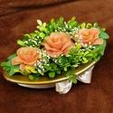 Harisnyavirág rózsabox pasztell színekkel, Otthon & Lakás, Dekoráció, Asztaldísz, Virágkötés, Ezt a finom, visszafogott színvilágú díszt az első harmatos rózsák ihlették. A rózsák saját festésű..., Meska