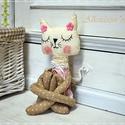 Textil cica, Játék, Plüssállat, rongyjáték, Játékfigura, Baba játék, Varrás, Textil jógi macsek . 35cm magas cica aki hihetetlenül hajlékony . Csak egy-két mozdulat és  össze i..., Meska
