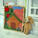 Csendes könyv - kutyussal, Játék, Készségfejlesztő játék, Baba, babaház, Horgolás, Varrás, Barkácsfilcből és pamutvászonból készült textilkönyv , horgolt babával . A könyv 2 lappból áll . A ..., Meska