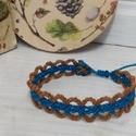 makramé karkötő - kék-narancs, Szélessége 1,5cm. Csúszócsomóval állítható...