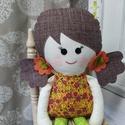 Sáfrány-textil baba, Sáfrány baba pamutvászonból készült és 37 c...