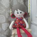 Piros - textil baba, Piros baba pamutvászonból készült és 37 cm ma...