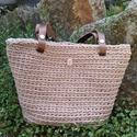 Mokka színű horgolt táska bőr füllel - Gdetti1 részére, Egy kedves megrendelő részére mokka színű fon...