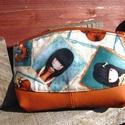 Gorjuss girl III.- neszesszer, Táska, Neszesszer, Varrás, Sötét narancssárga textilbőrből és Gorjuss lányokat ábrázoló patchworkanyagból készítettem ezt a pr..., Meska