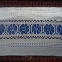 Kézzel szőtt asztalterítő, kék, Képzőművészet, Magyar motívumokkal, Dekoráció, Textil, Eredeti Beregi szőttes futó, a tájra jellemző mintával. Szövőszéken készült. Mérete :65*3..., Meska