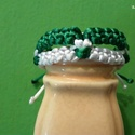 Zöld és fehér karkötő, Ékszer, Férfiaknak, Karkötő, Selyemzsinórból készítettem ezt a karkötőt, csúszócsomóval záródik., Meska