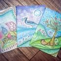 Füzet - 5 füzetből álló csomag, Naptár, képeslap, album, Jegyzetfüzet, napló, Fotó, grafika, rajz, illusztráció, 5 db., sima, fehér lapos füzetekből álló csomag, egyedi grafikákkal., Meska