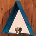Falitükör - kék háromszög, Otthon, lakberendezés, Dekoráció, Képkeret, tükör, Dísz, Famegmunkálás, Falitükör rétegelt lemez keretben. Oldalhossza 45 cm, mélysége 7 cm. Pácolt, lakkozott. Az alsó, fe..., Meska