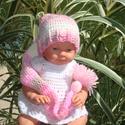 Manó babasapka babafotózásra , Baba-mama-gyerek, Ruha, divat, cipő, Gyerekruha, Baba (0-1év), Horgolás, Manó fazonú babasapka rózsaszín színösszeállításban bababarát fonalból.   Fonala batikolt,középvast..., Meska