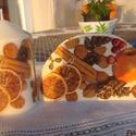 Karácsonyi harmónia az ünnepi asztalra, Karácsonyi, adventi apróságok, Dekoráció, Karácsonyi dekoráció, Ünnepi dekoráció, Decoupage, transzfer és szalvétatechnika,  Igazi hangulatos szalvétatartót és hozzáillő gyertyát készítettem a karácsonyi asztalra. A szalvét..., Meska