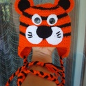 """Horgolt babasapka """"Szimba zoo"""" , Ruha, divat, cipő, Mindenmás, Kendő, sál, sapka, kesztyű, Sapka, Horgolás, Vidám tigris pofival készítettem ezt a tündéri   babasapit. Élénk színei narancssárga és fekete nag..., Meska"""