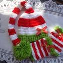 Karácsonyi szett babafotózásra , Ruha, divat, cipő, Gyerekruha, Baba (0-1év), Kendő, sál, sapka, kesztyű, Horgolás, Tündéri horgolt karácsonyi szett babafotózásra. A manósapka +lábszárvédő nagyon hangulatos darabja ..., Meska