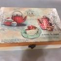 Hatrekeszes teafilter tároló doboz, Otthon, lakberendezés, Tárolóeszköz, Doboz, Decoupage, transzfer és szalvétatechnika, Kíváló ajándék lehet a közelgő ünnepek alkalmából.  762 gr, 25,8 cm* 7,7 cm*17,1cm  A doboz saját k..., Meska