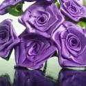 7 szálas  lila rózsa csokor, Dekoráció, Otthon, lakberendezés, Csokor, Mindenmás, Virágkötés, A csokor 25mm széles, lila színű szatén szalagból készült rózsafejekből áll, amik átlag 40mm átmérő..., Meska