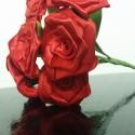 7 szálas piros rózsacsokor, Dekoráció, Otthon, lakberendezés, Csokor, Mindenmás, Virágkötés, A csokor 25mm széles szatén szalagból készült rózsafejekből áll, amik átlag 40mm átmérőjűek..  A cs..., Meska