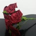 7 szálas bordó rózsacsokor, Dekoráció, Otthon, lakberendezés, Csokor, A csokor 25mm széles szatén szalagból készült rózsafejekből áll, amik átlag 40mm átmérőj..., Meska