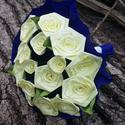Sárga selyem rózsa csokor, Dekoráció, Otthon, lakberendezés, Dísz, Mindenmás, Virágkötés, 16 szál vegyes fejméretű (2cm - 4cm )csokor..citromsárga színben..  a csokor zöld levelekkel készül..., Meska