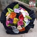 Minirózsa csokor vegyes színben, Dekoráció, Otthon, lakberendezés, Dísz, Virágkötés, Mindenmás, 20 szálas minirózsa csokor, a rózsák átlag 2cm fejméretűek.. mindegyikhez tartozik egy levél is..  ..., Meska