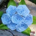 7 szálas világos kék rózsa csokor, Dekoráció, Otthon, lakberendezés, Csokor, Mindenmás, Virágkötés, A csokor 25mm széles, kék színű szatén szalagból készült rózsafejekből áll, amik átlag 40mm átmérőj..., Meska