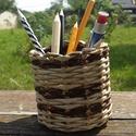 Papír fonott ceruzataró..2féle barna színnel, Dekoráció, Otthon, lakberendezés, Tárolóeszköz, , Meska