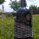 Fonott bortartó, Férfiaknak, Otthon, lakberendezés, Papírpálcából fonott bortartó..   A bor nem tartozik bele az eladási árba!, Meska