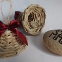 Papírból fonott harang csomag, Dekoráció, Ünnepi dekoráció, Karácsonyi, adventi apróságok, Fonás (csuhé, gyékény, stb.), Újrahasznosított alapanyagból készült termékek, Kávébarna színű harangok, selyem masival..  A masni színe tetszőleges!  mérete a harangnak:  kb. 6x..., Meska