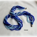 Kék árnyalatok - többsoros gyöngyfűzött nyaklánc, Ékszer, óra, Nyaklánc, Egyedi, saját tervezésű, különleges formavilágú, 13 soros dekoratív gyöngyfűzött nyaklánc különböző ..., Meska
