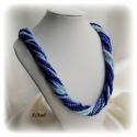Kék árnyalatok - többsoros gyöngyfűzött nyaklánc, Ékszer, Nyaklánc, Egyedi, saját tervezésű, különleges formavilágú, 13 soros dekoratív gyöngyfűzött nyaklánc különböző ..., Meska